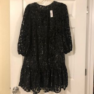 NWT J. Crew Black Sequined Leopard Dress - Size 8T